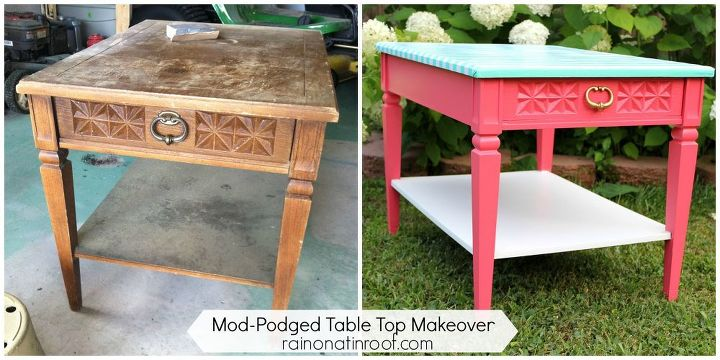 table makeover with wrapping paper and mod podge, painted furniture