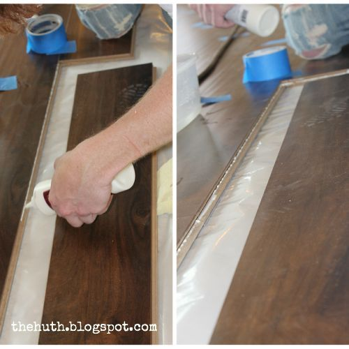 laminate floor installation, diy, flooring, how to, living room ideas, For any areas that tend to get wet Exterior doors kitchens we glued the seams together By doing this we re preventing any potential moisture from getting beneath the floor