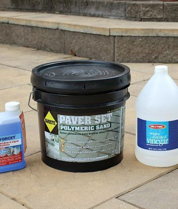Wet & Forget, Polymeric Sand, and White vinegar will help keep your patio looking great all summe long