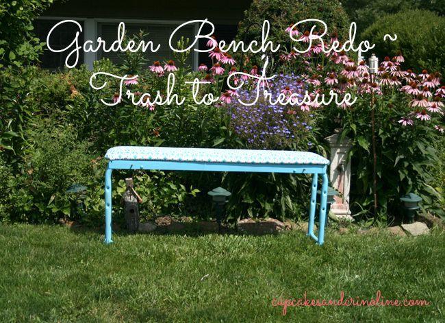 garden bench trash to treasure, outdoor furniture, painted furniture, Garden bench redo