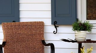 q what is your favorite color for shutters, curb appeal, Rustic Navy Blue Panel shutters