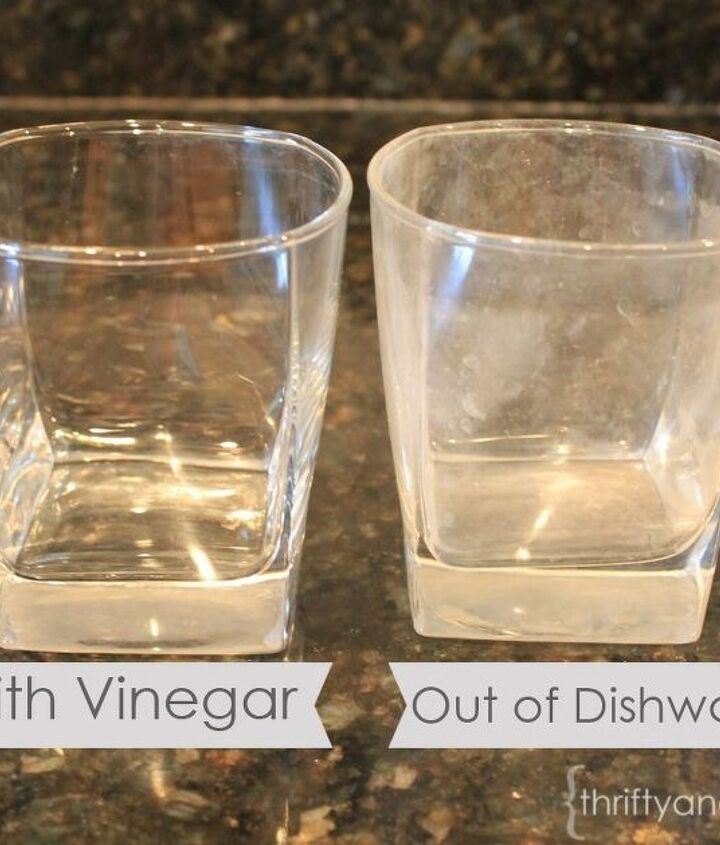 cup with and without cleaning with vinegar