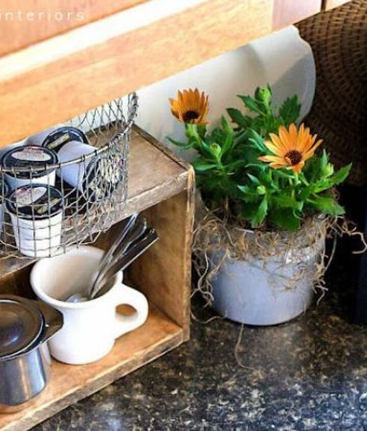 My little crate coffee station makes me even happier than my coffee. If that's possible... http://www.funkyjunkinteriors.net/2012/04/coffee-pod-storage-with-crate-and.html