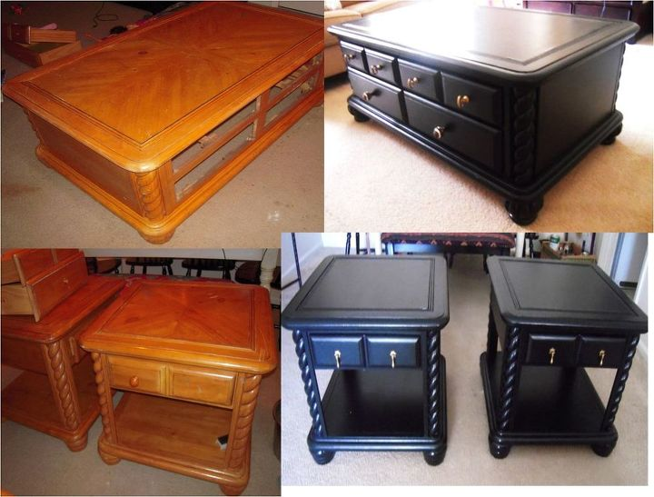 remake of one ugly coffee table set, painted furniture