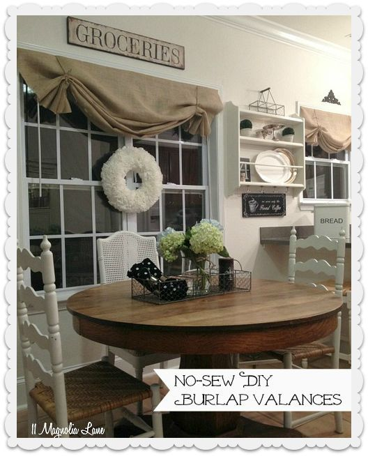 how to make a no sew diy burlap window valances, crafts, home decor, window treatments, windows, The finished product so easy no curtain rods required either