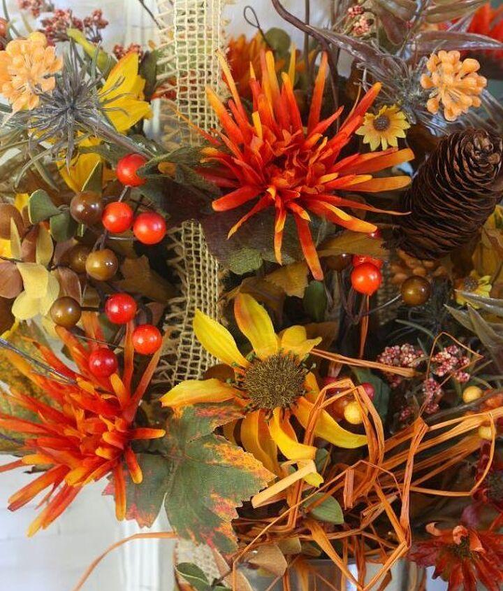 easy fall flower can door decor, crafts, doors, flowers