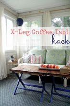 x leg coffee table hack, diy, painted furniture, repurposing upcycling, rustic furniture, DIY X Leg Coffee Table Hack