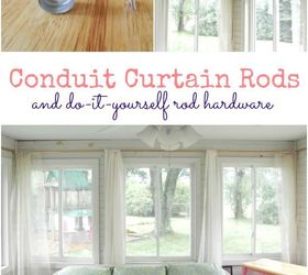 conduit curtain rods and diy hardware home decor tools window treatments
