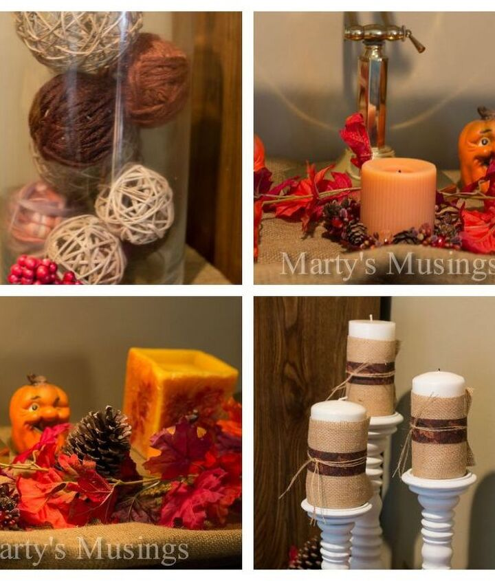 Mantel collection featuring a glass container with string wrapped balls and candles wrapped in burlap, ribbon and string.