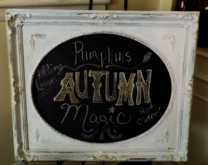 decorating with chalkboards my autumn chalkboard display and how to, christmas decorations, seasonal holiday decor, Autumn Chalkboard DIY I came up with a few of my favorite things about fall and drew this design free hand I will be changing it in October I love how the chalkboard is like a rotating display of artwork