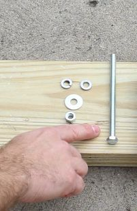 You need split washers, a flat washer, a hex nut, and a hex bolt - $3