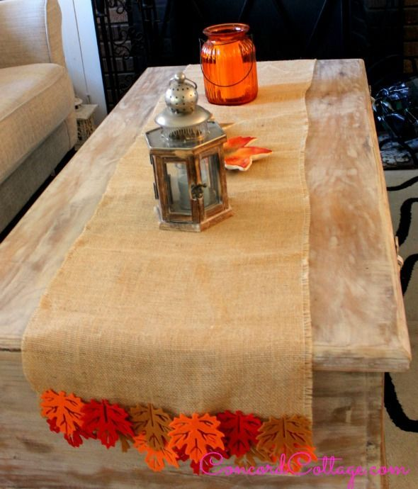 Burlap Fall Leaves Table Runner Crafts Seasonal Holiday Decor Great On Your Coffee