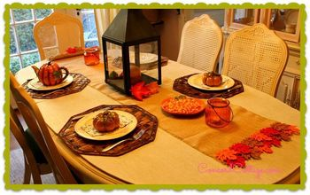 burlap fall leaves table runner, crafts, seasonal holiday decor, Great for a Fall Table