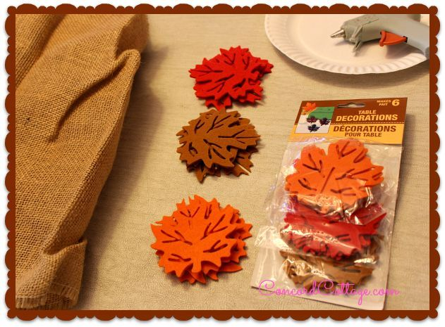 You need Burlap & 2 packs of Fall Leaves from Dollar Tree Store