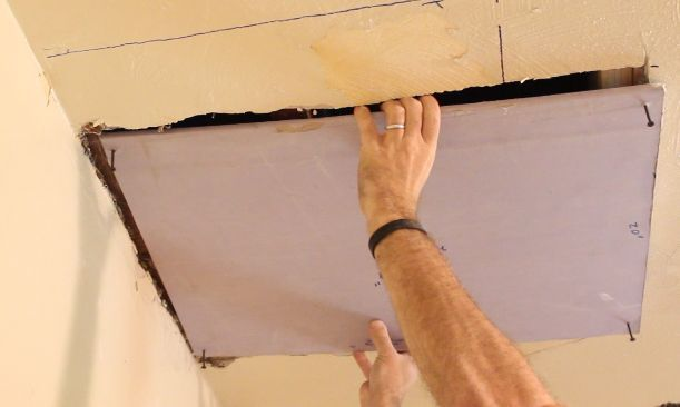 Place the new drywall on the joists or studs
