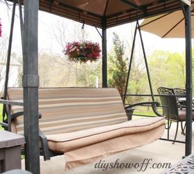 How To Add Curtains To An Outdoor Covered Patio Swing, Outdoor Living,  Reupholster,