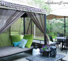 Merveilleux How To Add Curtains To An Outdoor Covered Patio Swing, Outdoor Living,  Reupholster,