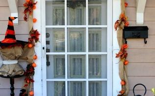 fall front porch diy garland pumpkin topiaries, curb appeal, seasonal holiday decor