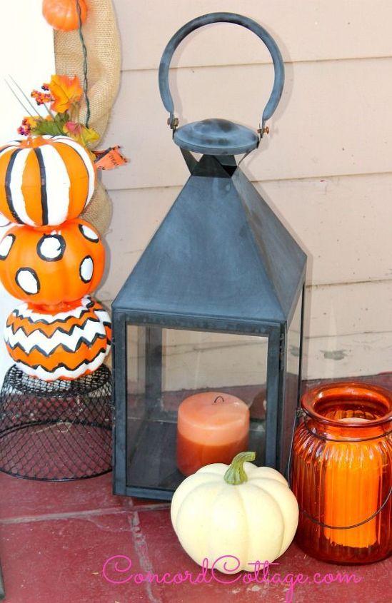 fall front porch diy garland pumpkin topiaries, curb appeal, seasonal holiday decor