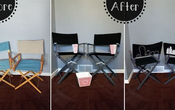 updated directors chairs, outdoor furniture, painted furniture, Directors Chairs Before and After