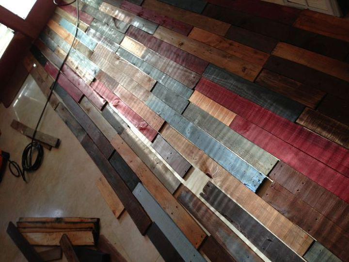 Pallet wall reclaimed wood hometalk for Diy pallet home decor