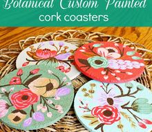 painting your own botanical look cork coasters, crafts, decoupage, painting, Made these botanical custom painted cork coasters while cooking dinner yep