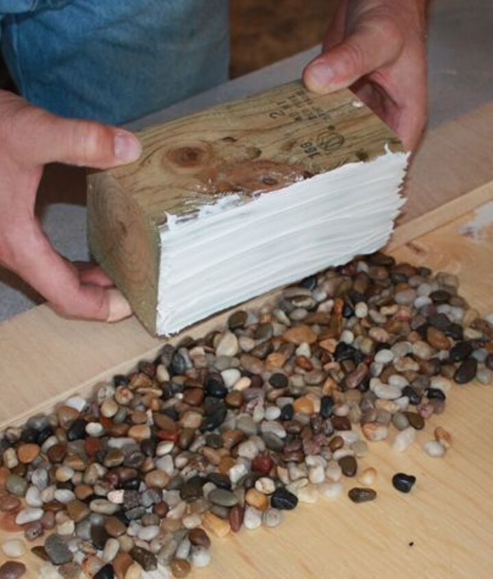 ready to press into river stones spread out in a single layer