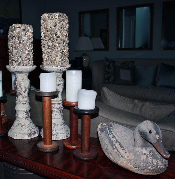 diy river stone pillar candles, crafts