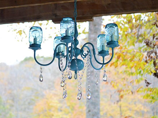 diy mason jar chandelier, diy, lighting, mason jars, repurposing upcycling, Close up of the finished DIY Mason Jar Chandelier