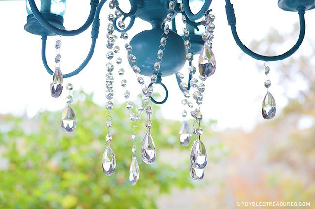 diy mason jar chandelier, diy, lighting, mason jars, repurposing upcycling, I attached the crystals using 12lb clear fishing line