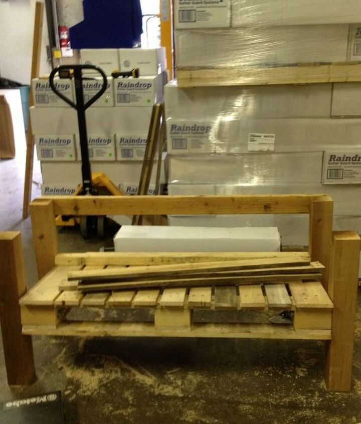 3. Choose your angle & secure the legs.  Repurposed Pallet into a Do-It-Yourself Bench.