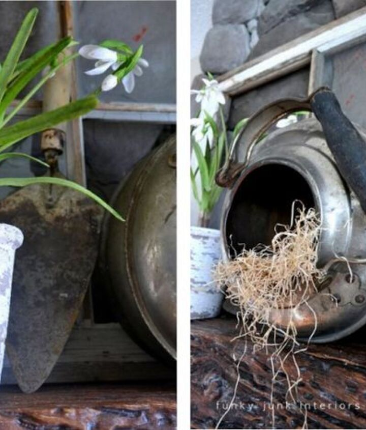 An outdoor theme with a kettle as a bird's nest carried on the spring story. It's really just about using things that you love to look at.