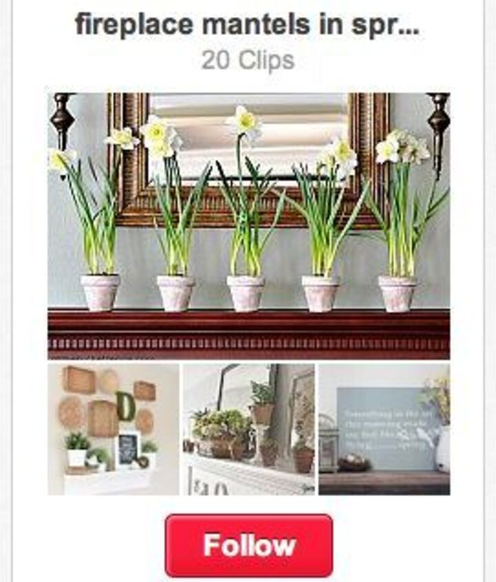 I've also created a spring mantel clipboard right on Hometalk! Come on over and peek at: http://www.hometalk.com/b/720085/fireplace-mantels-in-spring