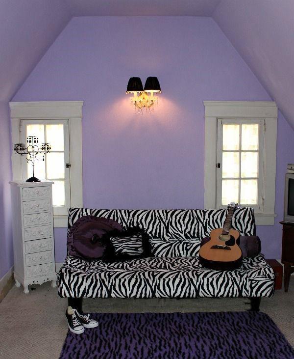 Bedroom Zebra Jarrah Bedroom Furniture Bedroom Bay Window Seat Bedroom Roof Ceiling Design: Teen Fun Purple Black And Zebra Bedroom