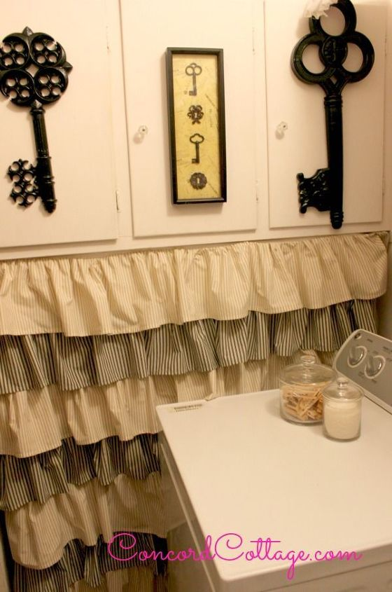I love the way the ruffled ticking stripes drape turned out.  How to on the blog