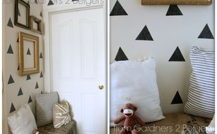 easy niche update diy triangle faux wallpaper, bedroom ideas, home decor, wall decor, Faux wallpaper made from chalkboard contact paper Easy and temporary