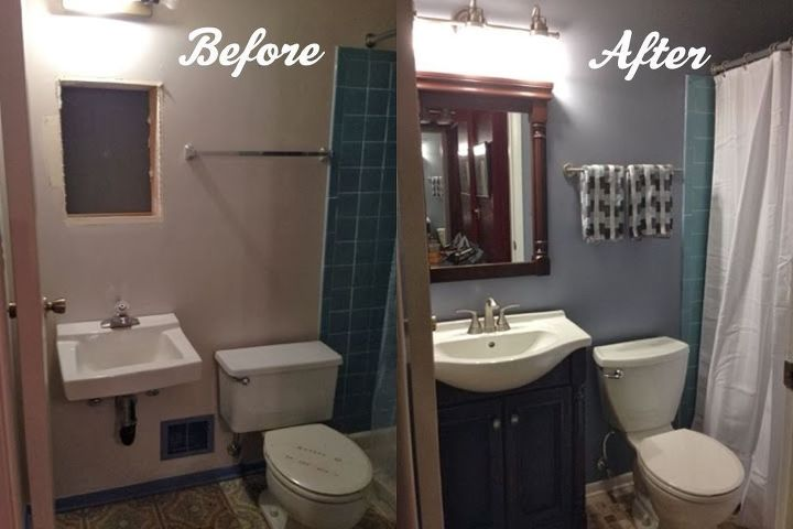 Diy bathroom renovation hometalk for Painting bathroom tile before and after