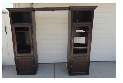 "This was a curbside former entertainment center that had seen better days. Someone punched out the back of one for a tv. I decided to make them into two separate armoires. One a ""farmhouse style coffee and spice pantry"" and the other a ""French Armoire."""
