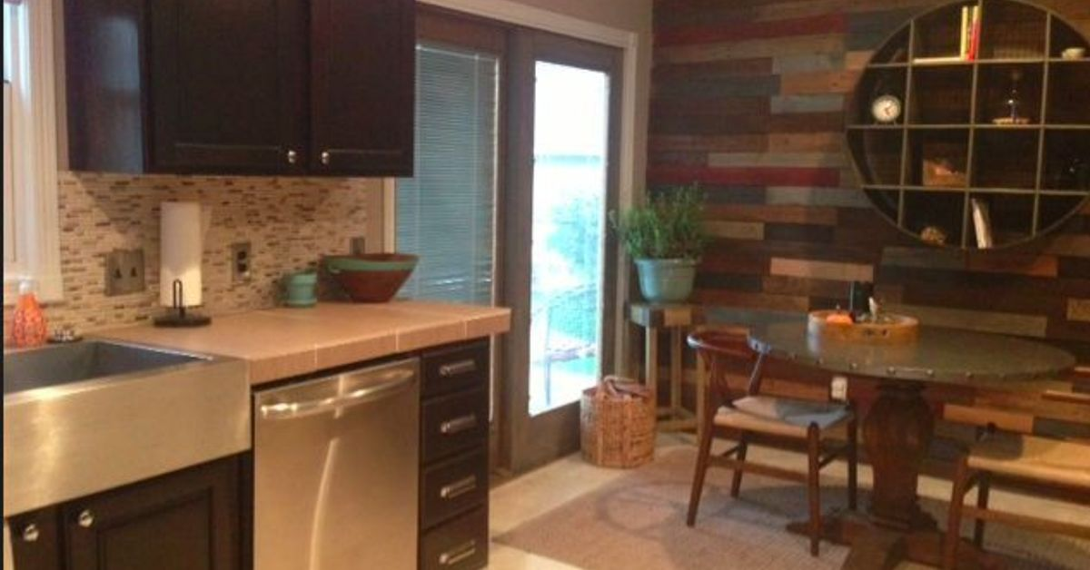 Kitchen With Pallet Wall Finally Finished Orange Oak Is Gone Hometalk