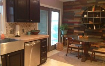 Kitchen With Pallet Wall Finally Finished.   Orange Oak is Gone!
