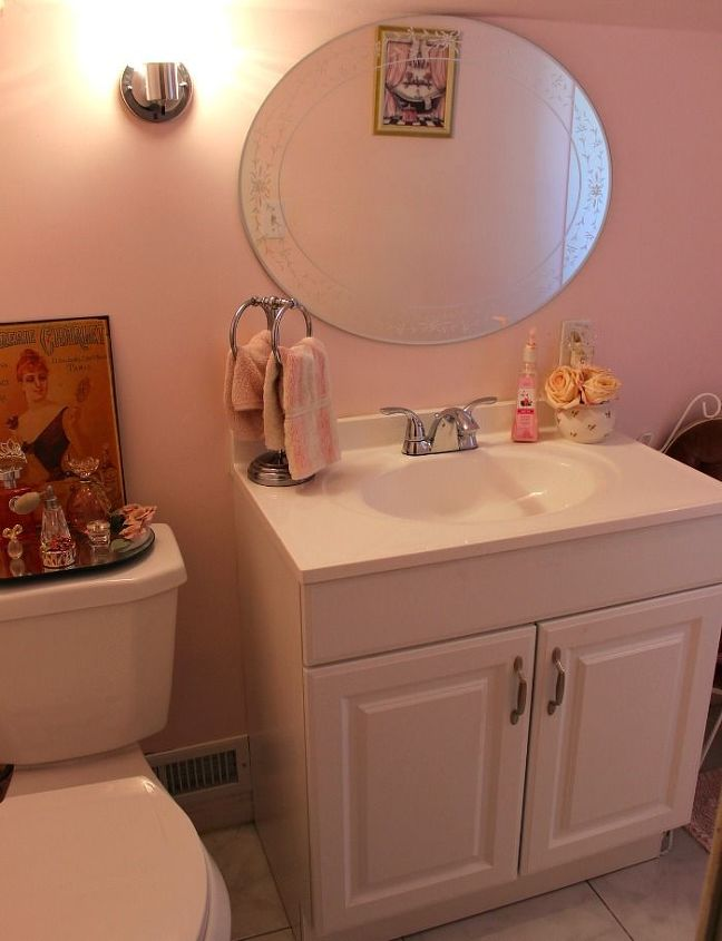 Our updated pink powder room hometalk for Paint colors for powder rooms