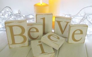 diy wood believe blocks, christmas decorations, seasonal holiday decor, woodworking projects