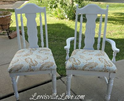 Chair Makeovers from: http://lewisvillelove.blogspot.com/2013/09/new-chairs-kind-of.html