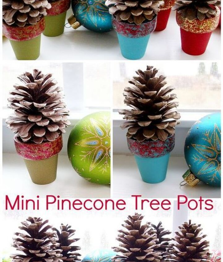 Using small pinecones found in our backyard, I made these sweet little holiday decorations!