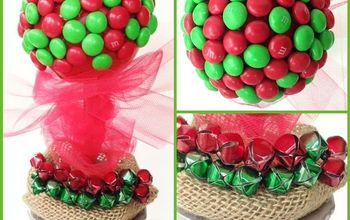 m ms topiary craft for christmas, christmas decorations, crafts, seasonal holiday decor, This M M Holiday Topiary is super easy to make Start with a foam topiary found in the floral craft aisle