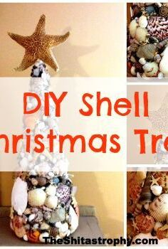 diy sea shell christmas tree topiary, christmas decorations, crafts, seasonal holiday decor