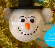 sparkly snowman ornament, christmas decorations, crafts, seasonal holiday decor