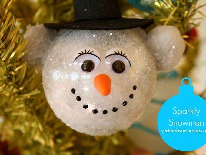 sparkly snowman ornament, christmas decorations, crafts, seasonal holiday decor
