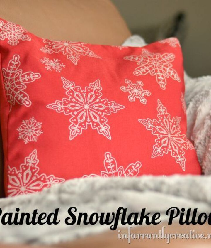 Finished screenprinted snowflaked pillow
