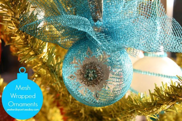 wrapped mesh ornaments, christmas decorations, crafts, seasonal holiday decor